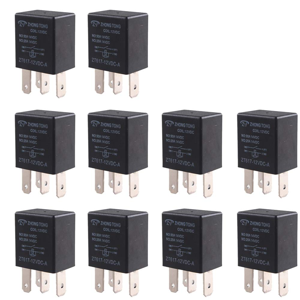 ESUPPORT Car Heavy Duty Relay Switch 12V 30A SPST 4Pin Waterproof Electrical Automotive Pack of 10