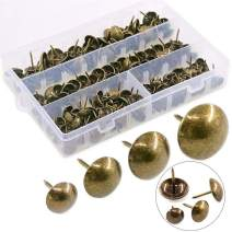 Hilitchi 280-Pieces [4-Size] Antique Brass Tacks Bronze Nail Pins Upholstery Nail Tacks Furniture Thumb Tack Pins Assortment Kit - Size Include: 7/16'' 9/16'' 5/8'' 3/4''