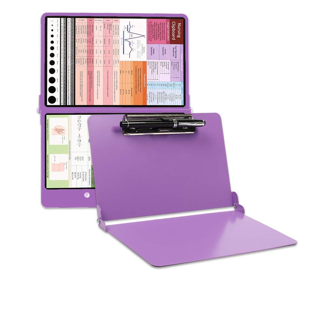 Durable Aluminum Clipboard Foldable, Lightweight, Perfect Size for Scrub Pocket, for Student, Extra 4 Stickers & Pen Holder for Easy Check & Use (Puple)