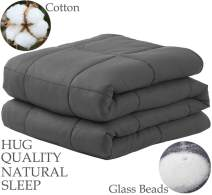 "LBRO2M Weighted Blanket Cooling for Adults and Kids,100% Natural Cotton Bed Heavy Blanket with Premium Safe Glass Beads,Enjoy Deep Sleep Like A Baby (Dark Grey, 60""x80""-20 lbs)"