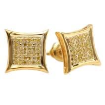 Dazzlingrock Collection 0.15 Carat (ctw) Yellow Round Diamond Micro Pave Setting Kite Shape Stud Earrings
