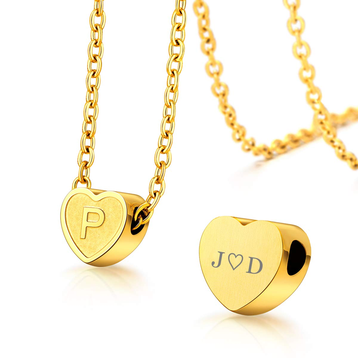 FOCALOOK Tiny Heart Initial Necklace 18K Gold Plated Stainless Steel Name Alphabet Jewelry Dainty Letter Pendant 26 A-Z Monogram Necklace Gift for Mom, with Backside Customize