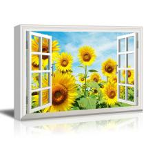 wall26 - Canvas Wall Art - Window into a Sunflower Field - Giclee Print Gallery Wrap Modern Home Decor Ready to Hang - 24x36 inches