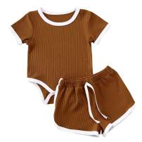 Newborn Baby Boys Girls Ribbed Knit Cotton Short Sleeve Bodysuit Top and Shorts Outfit Summer Clothes Set