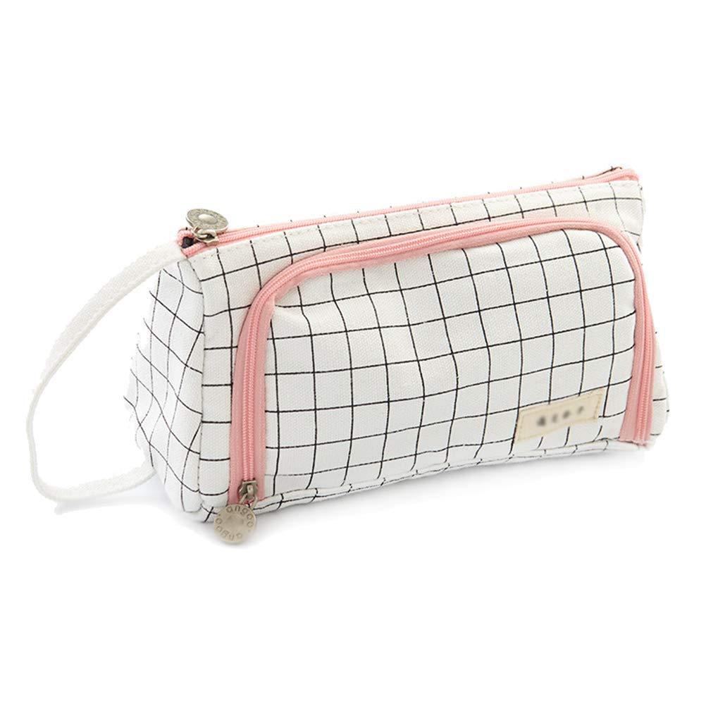 Samaz Pen Bag Pencil Case Large Capacity Canvas Pencil Bag Pouch Stationary Case Makeup Cosmetic Bag (Black Grid)