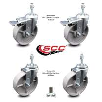 """Semi Steel Cast Iron Swivel Threaded Stem Caster Set 4 w/Roller Bearing - 5"""" x 1.5"""" Silver Wheels & 10MM Metric Stems-Includes 2 with Total Locking Brake - 1200 lbs Total Capacity-Service Caster Brand"""