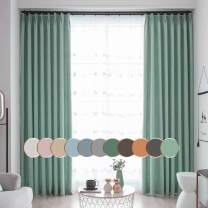 Leadtimes Green Linen Blackout Curtains 84 Inches Long Thermal Blackout Bedroom Light Blokcing Grommet Drapes, 84 x 84 inch x 2 Panels