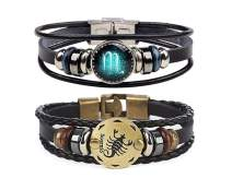 Retro 2pcs 12 Zodiac Constellation Beaded Hand Woven Leather Bracelet Braided Punk Chain Cuff