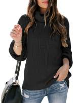 Womens Turtle Cowl Neck Chunky Knit Sweaters Oversized Long Balloon Sleeve Casual Loose Pullover Jumper Top