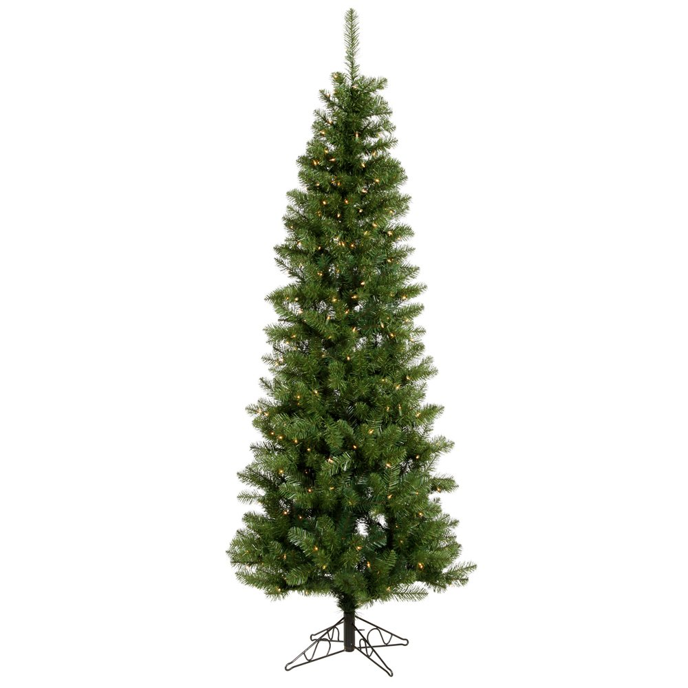 Vickerman Salem Pencil Pine Green Christmas Tree with 200 Clear Dura-Lit, 5.5-Feet