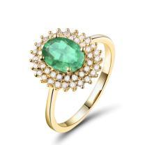 Lanmi 14K Yellow Gold Natural Green Emerald Diamonds Rings Engagement Wedding Band for Women