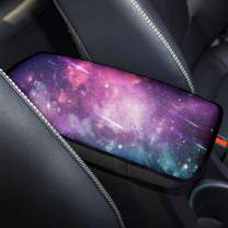 chaqlin Purple Auto Center Console Armrest Cover Sunflower Pattern Universal Fit Soft Comfort Center Console Armrest Cushion for Car Seat Handrail Box Galaxy Space Print