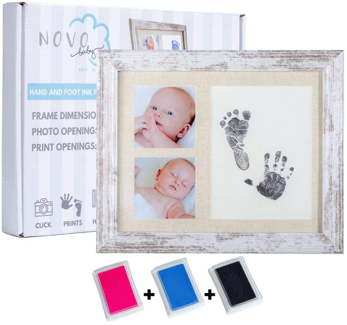 Baby Footprint & Handprint Photo Frame Kit | Includes 3 Ink Pads | Pink + Blue + Black | Perfect Baby Shower Gift for Boy & Girl | Newborn Keepsake Frame | Foot & Hand Impression