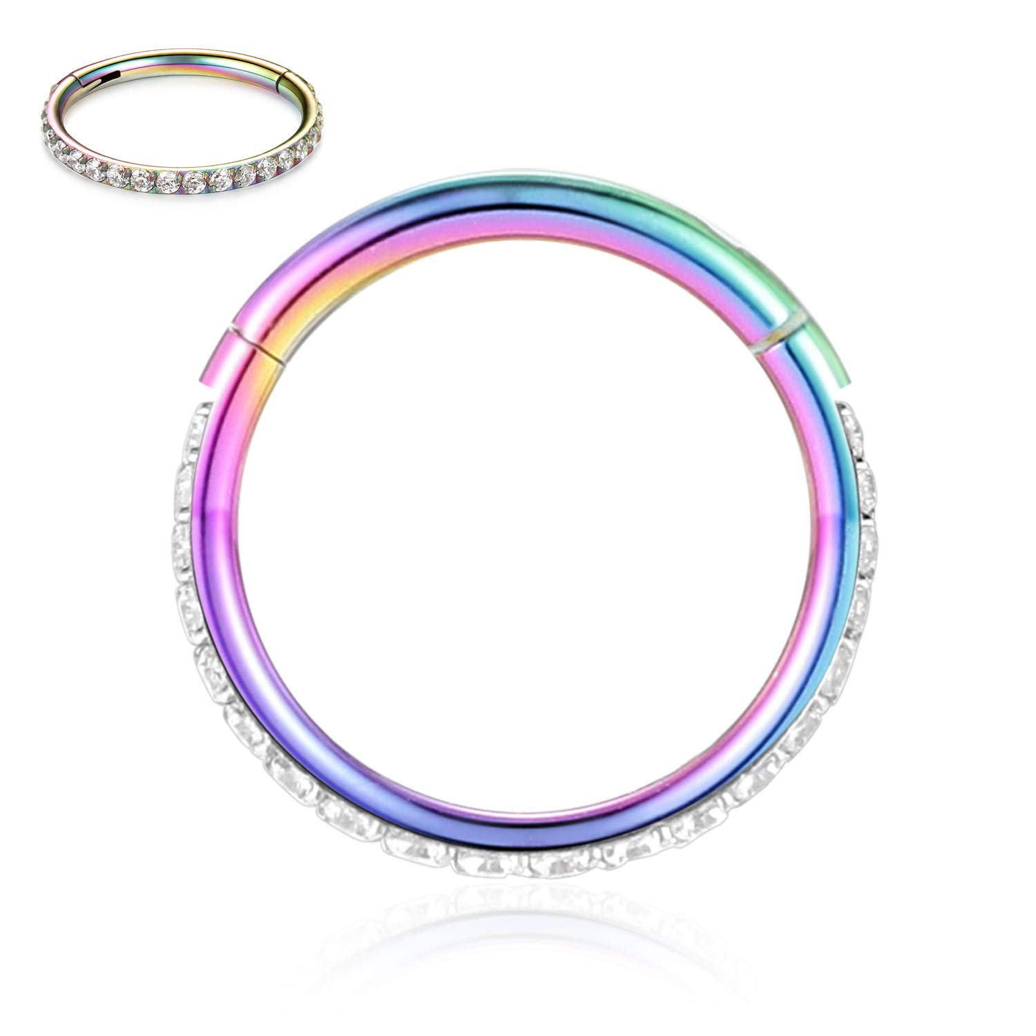 FUNLMO 18G 16G 14G CZ Opal Cartilage Earring Hoop 316L Surgical Steel Septum Nose Rings Daith Helix Tragus Piercing Jewelry