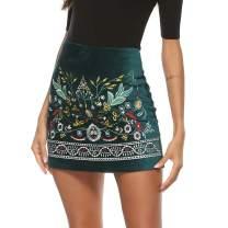 AK Women's High Waist Embroidered Mini Skirt Boho Floral Above Knee Pencil Skirt