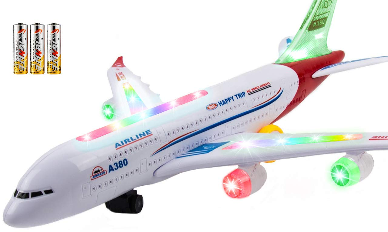 Toysery Airplane Toys for Kids with Bump and Go Action - Airbus A380 Toy Planes for Boys and Girls with Flashing Lights, Real Jet Sound, 3 AA Batteries Included