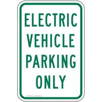 Electric Vehicle Parking Only Reflective Sign, 18x12 in. with Center Holes, 80 mil Aluminum for Parking Control by ComplianceSigns