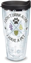 Tervis 1301435 I Don't Drink Alone - I Have A Pet Insulated Tumbler, 24 oz, Clear