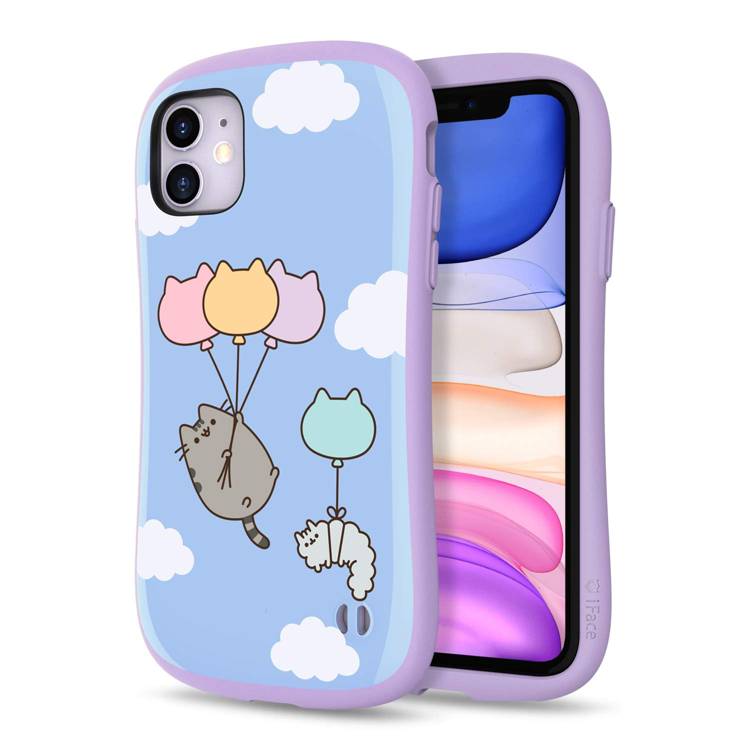 iFace x Pusheen The Cat First Class Series iPhone 11 Case – Cute Dual Layer [TPU and Polycarbonate] Hybrid Shockproof Protective Cover for Women [Drop Tested] - Blue Sky Balloon