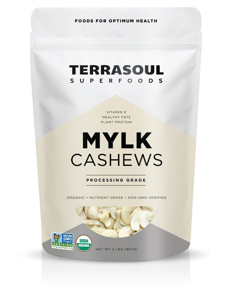 Terrasoul Superfoods Organic Raw Cashews (Mylk Grade), 2 Pounds