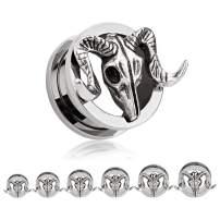 TBOSEN 2 pcs Titanium Alloy Retro Ram Goat Skull Ear Plugs Large Gauges Stretching Screw Fit Tunnels
