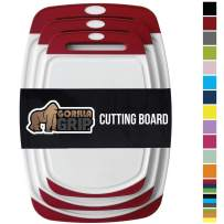 GORILLA GRIP Original Oversized Cutting Board, 3 Piece, BPA Free, Dishwasher Safe, Juice Grooves, Larger Thicker Boards, Easy Grip Handle, Non Porous, Extra Large, Kitchen, Set of 3, Red