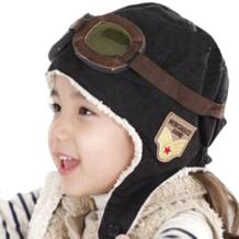 Happy Will Pilot Aviator Fleece Warm Hat Cap with Earmuffs for Kids with Stylus