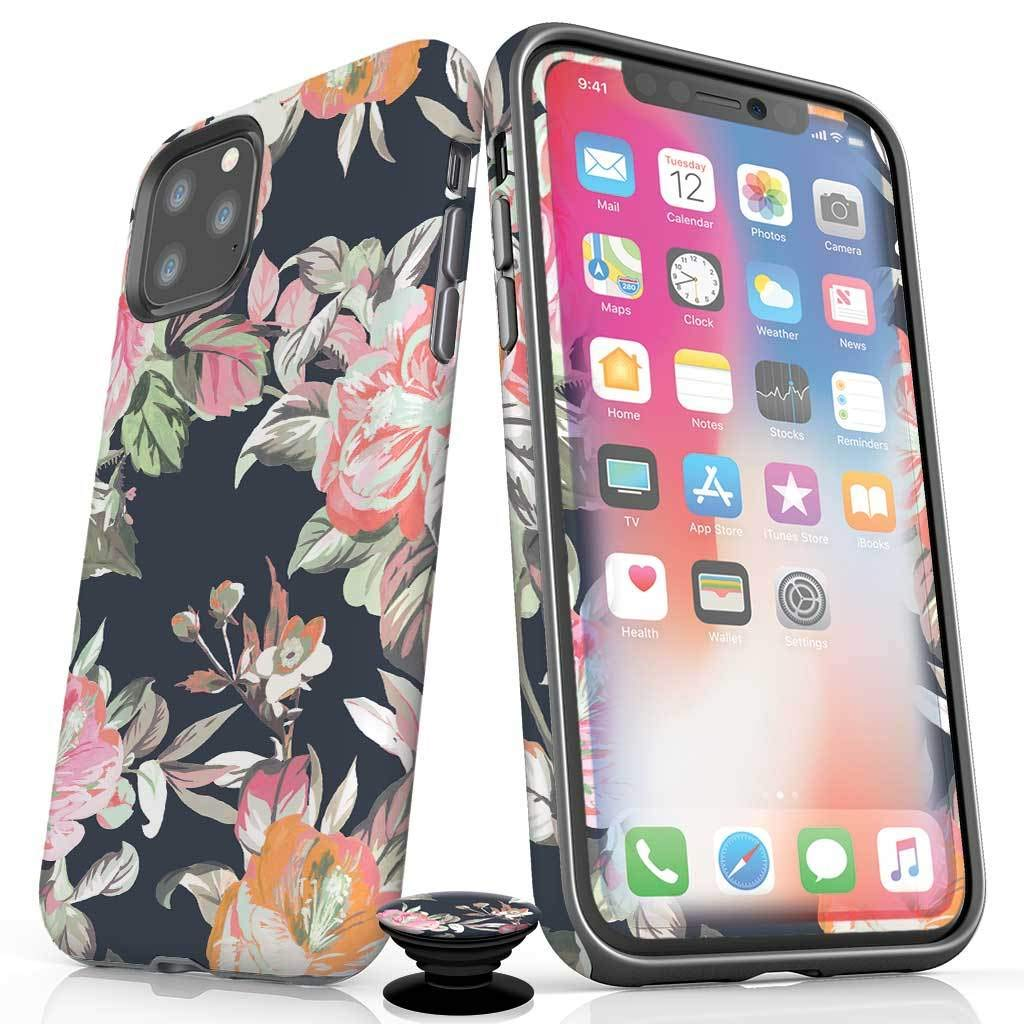 Screenflair- iPhone 11 Pro Accessory Bundle - Designer Drop Tested Glossy Protective Case - Shatterproof and Scratch Resistant Screen Protector - Phone Grip - Fall Floral Design