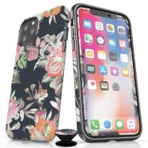 Screenflair- iPhone 11 Pro Accessory Bundle - Designer Drop Tested Matte Protective Case - Shatterproof and Scratch Resistant Screen Protector - Phone Grip - Fall Floral Design