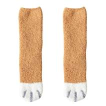 Women Fuzzy Socks Cute Cat Paws Claw Thick Warm Plush Cozy Fluffy Socks Indoor Sleep Floor Girls Sleeping Socks for Winter