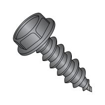 """Steel Sheet Metal Screw, Black Oxide Finish, Hex Washer Head, Hex Drive, Type A, #8-15 Thread Size, 1/2"""" Length (Pack of 100)"""