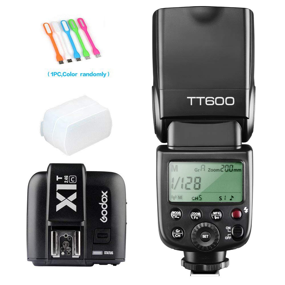 Godox TT600 High Speed Sync 2.4G Wireless Camera Flash Speedlite light with X1T-C Remote Trigger Transmitter Compatible for Canon & Diffuer & CONXTRUE USB LED