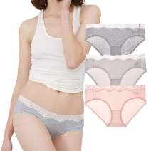 Eve's temptation Emilia Bikini Cotton Panties Seamless Low Rise Hipster 3 Pack Assorted Colors