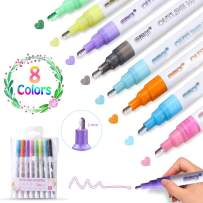 Double Line Pen, Self-Outline Metallic Markers Journal Pens & Colored Permanent Marker Pens for Kids, Amateurs and Professionals Illustration Coloring Sketching Card Making (8 pcs)