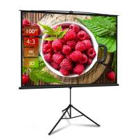 Projector Screen with Stand 100 inch 4:3 HD 4K Portable Indoor Outdoor Movie Screen Outdoor Projector Screen Pull Up Projector Screen with Tripod Stand for Office,Home Theater, Backyard Movie