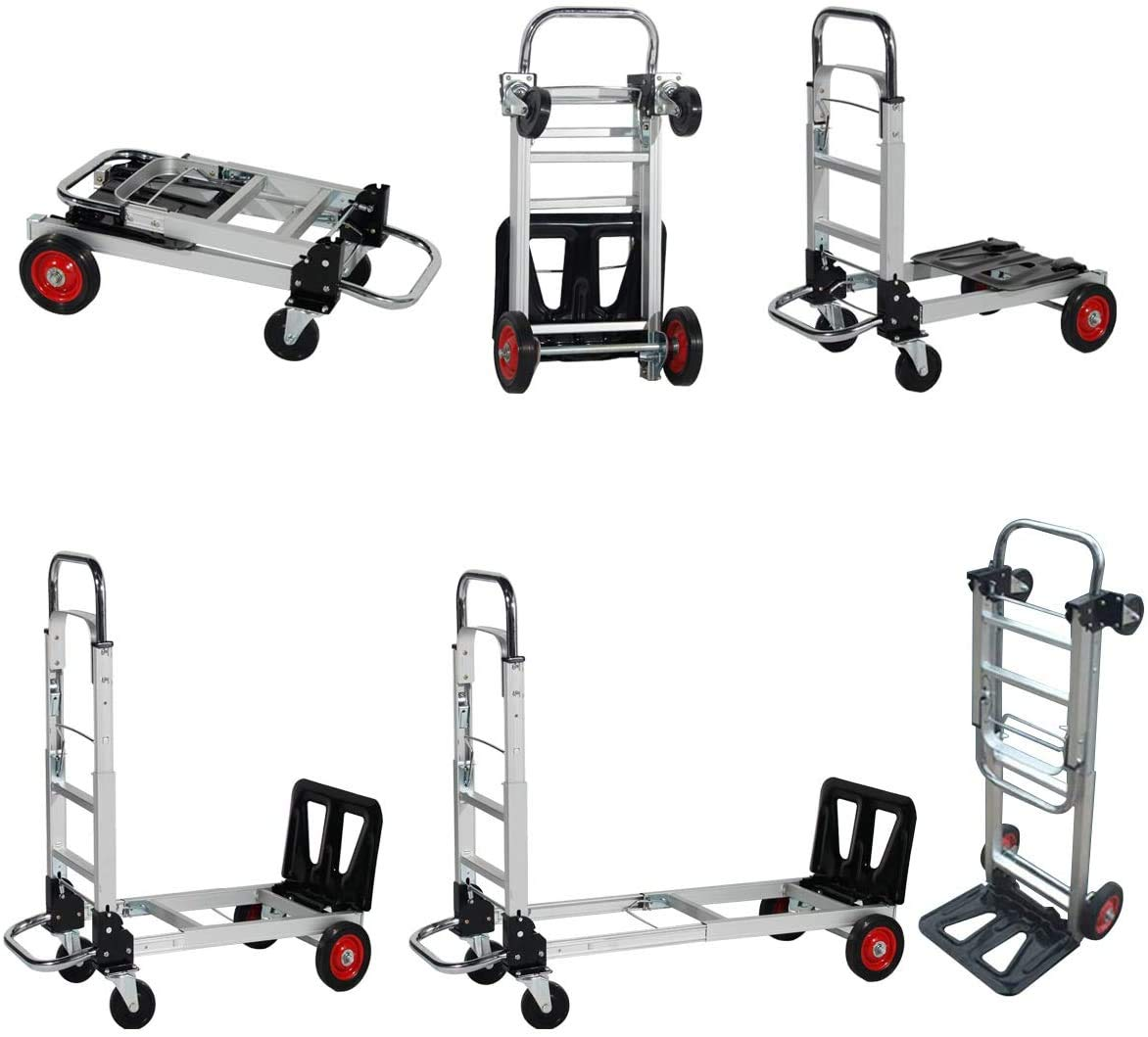sogesfurniture Mini-Handtruck with 330 lbs Load Capacity, Folding Hand Truck, Moving Dolly Trolley, Gardening Lawn Leaf Bag Support Platform Truck Cart, BHUS-KT-2020A-N
