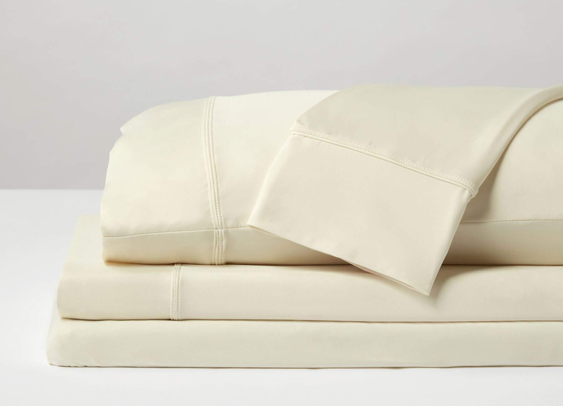 SHEEX - Original Performance Sheet Set with 1 Pillowcase, Ulta-Soft Fabric Transfers Heat and Breathes Better Than Traditional Cotton - Ecru, Twin/Twin XL