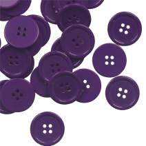 YAKA 80Pcs 1inch(25mm) Sewing Resin Buttons Round Shape 4 Holes Craft Buttons for Sewing Scrapbooking and DIY Craft Bronze Purple