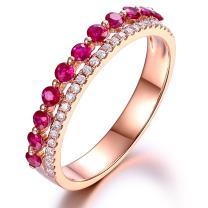 Fashion Amazing Genuine Ruby Gemstone Real Diamond Solid 14K Rose Gold Engagement Wedding For Women Ring Sets