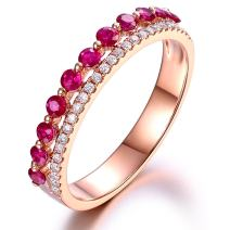 Fashion Amazing Genuine Ruby Gemstone Real Diamond Solid 14K Rose Gold Engagement Wedding For Women Ring Sets