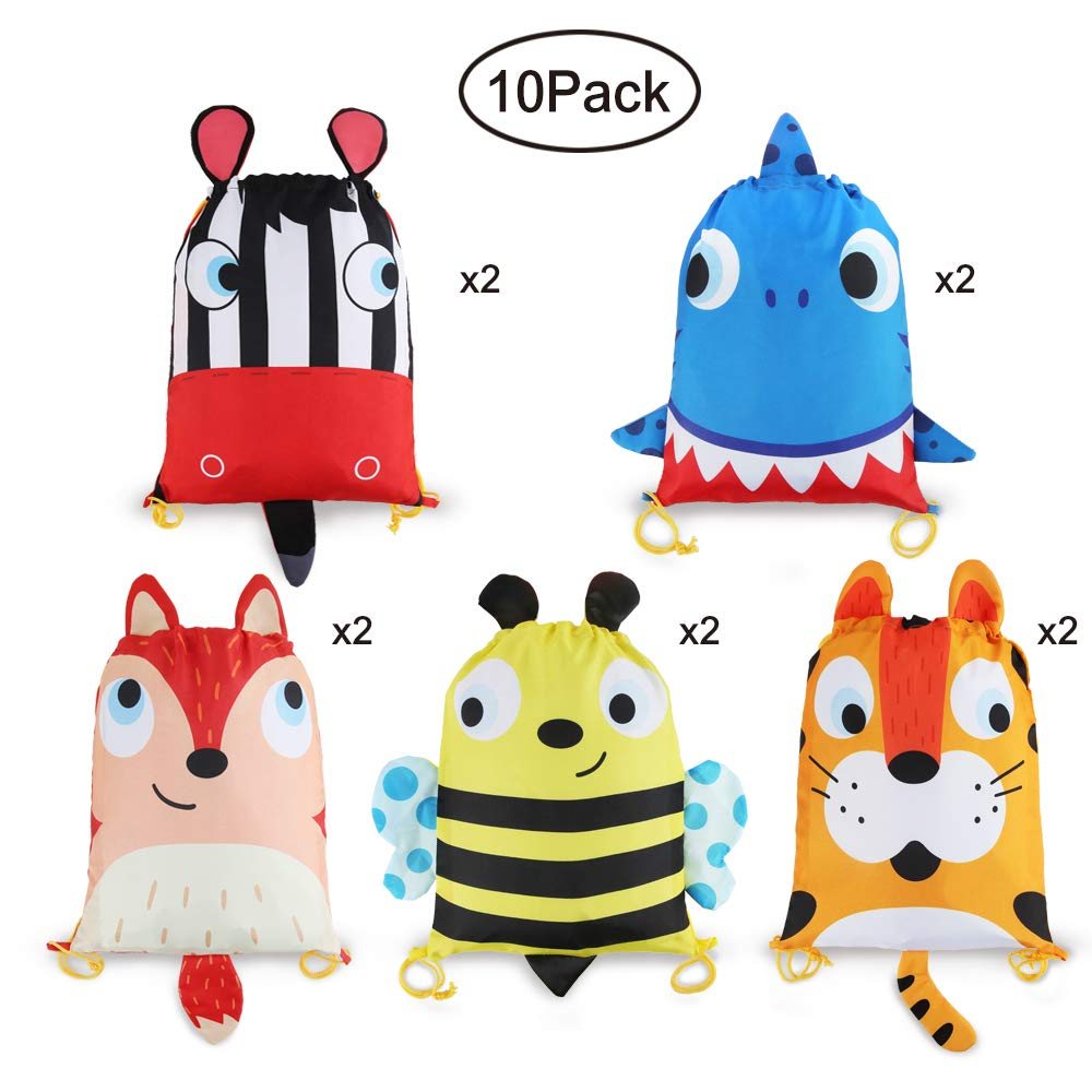 10 PCS Kids Party Favor Bags,Drawstring Goody Bag Candy Backpack with Cartoon Animal Designed Carrying on Cute Ear and Tail for Kids Girls Boys Birthday Christmas Gift Package