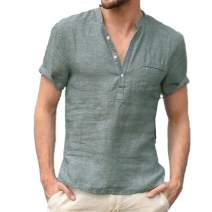 Men's Linen Cotton Henley Shirt - Casual Short Sleeve Hippie Button Up Beach T Shirts -7 Colors