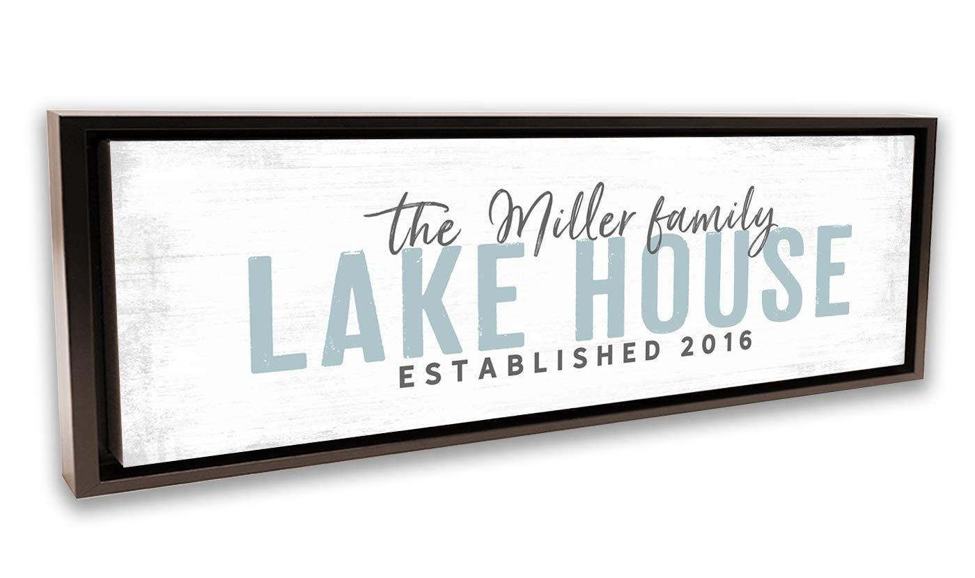 Pretty Perfect Studio Custom Lake House Sign, Personalized Family Lake Home Decor for Lake Life Living Room| 12x36 Walnut Framed, Ready-to-Hang Canvas Wall Art