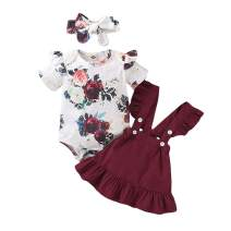 Newborn Baby Girl Clothes Toddler Short Sleeve Outfits Ruffle Romper Top Infant Suspender Skirt 2pcs Girl Overall Dress