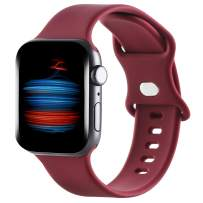 Gleiven Compatible with Apple Watch Band 38mm 40mm iWatch Bands 42mm 44mm Women Men, Soft Silicone Sport Replacement Strap Compatible for Apple Watch SE Series 6 5 4 3 2 1(Wine Red, 42mm(44mm))