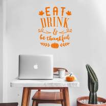 "Vinyl Wall Art Decal - Eat Drink and Be Thankful - 27"" x 22"" - Modern Thanksgiving Quote for Home Living Room Kitchen Store Coffe Shop Restaurant Seasonal Decoration Sticker (Orange)"