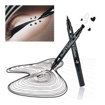Pinkiou 2 in 1 Double-headed Liquid Eyeliner Pen Stamp Super Slim Gel Felt Tip High Pigment Black Waterproof Smudgeproof Long Lasting Makeup Tool(Heart)