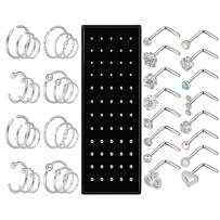 Qmcandy 40pcs/100pcs 20G Stainless Steel Nose Rings Hoop I-Shape L-Shape S-Shape Studs Cartilage Tragus Piercing Jewelry