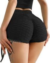 TSUTAYA Butt Lifting Yoga Shorts for Women High Waist Tummy Control Hot Pants Textured Ruched Sports Gym Running Beach Shorts