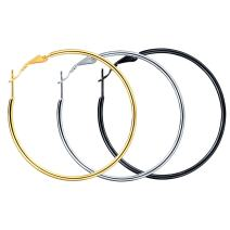 FOCALOOK Hoop Earrings for Women 18k Gold Plated Thin Round Stainless Steel Hoops 30 40 50 70mm